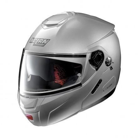 Casco modulare apribile moto Nolan N90.2 Classic Argento Platinum Silver 1 Ncom flip up helmet casque