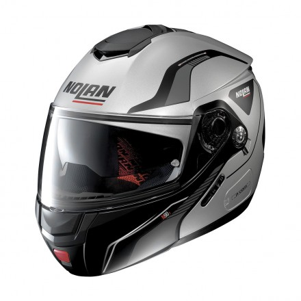 Casco modulare apribile moto Nolan N90.2 Straton Argento opaco nero flat Silver black 16 Ncom flip up helmet casque