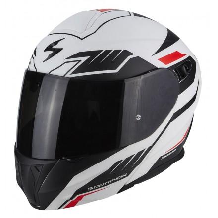 Casco modulare moto Scorpion Exo 920 Shuttle bianco opaco nero rosso white mat black red flip up helmet