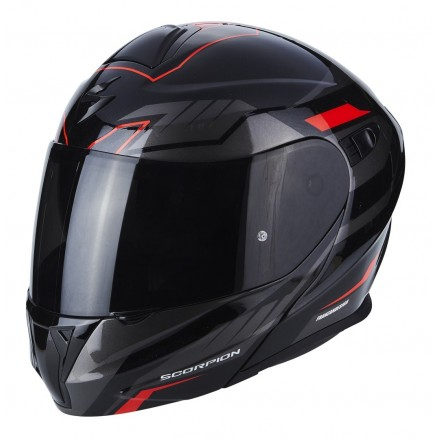 Casco modulare moto Scorpion Exo-920 Shuttle nero rosso black silver red flip up helmet