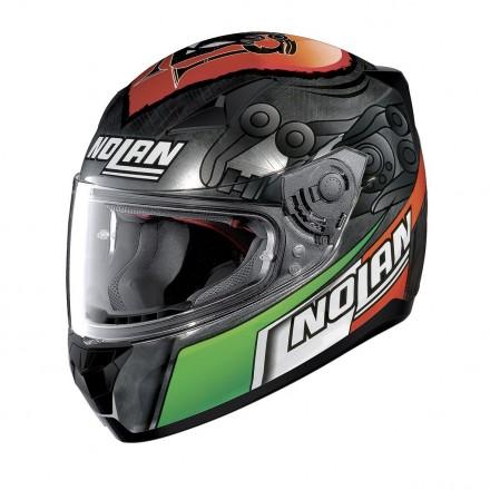 Casco integrale moto Nolan N60-5 Gemini Replica Melandri Scratched Chrome 35 helmet