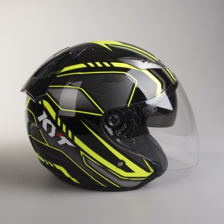 Casco jet moto scooter visiera lunga Kyt Hellcat Arrow black yellow helmet casque