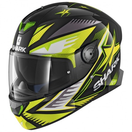 Casco integrale moto Shark Skwal 2 Draghal nero verde giallo black green yellow helmet casque
