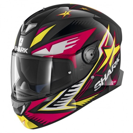 Casco integrale moto Shark Skwal 2 Draghal nero viola giallo black violet yellow helmet casque