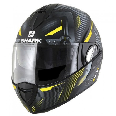 Casco modulare apribile reversibile Shark Evoline Series 3 Shazer nero opaco giallo black matt yellow helmet casque