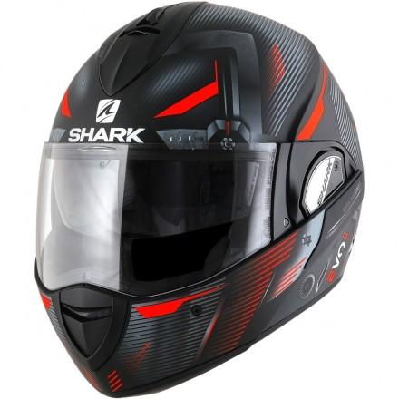 Casco modulare apribile reversibile Shark Evoline Series 3 Shazer nero opaco rosso black matt red helmet casque