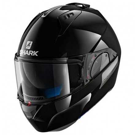 Casco modulare apribile convertibile moto Shark Evo One 2 nero lucido black metal flip-up helmet casque
