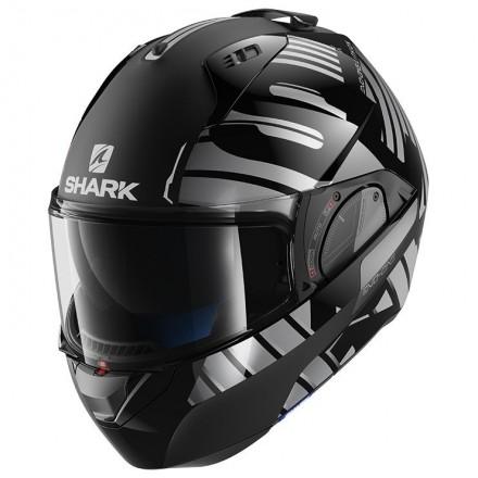 Casco modulare apribile convertibile moto Shark Evo One 2 Lithion nero cromo antracite black chrome flip-up helmet casque
