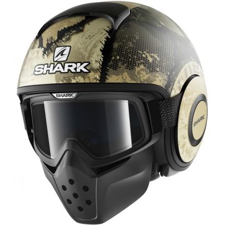 Casco moto vintage scrambler cafe racer naked custom Shark Drak Evok mat Black green silver helmet casque