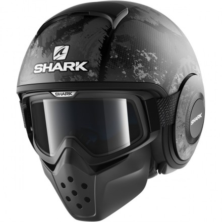 Casco vintage scramber naked custom Shark Drak SEvok mat Black antracite helmet