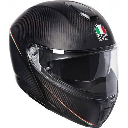 Casco modulare carbonio moto Agv SportModular carbonio opaco tricolore italia carbon matt italy flip up helmet