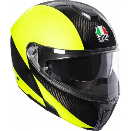 Casco modulare carbonio Agv Sport Modular Hi vis Carbon Yellow flip up helmet