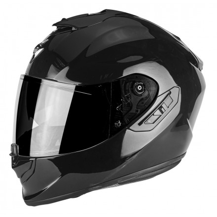 Casco integrale fibra moto Scorpion Exo 1400 nero lucido black helmet casque
