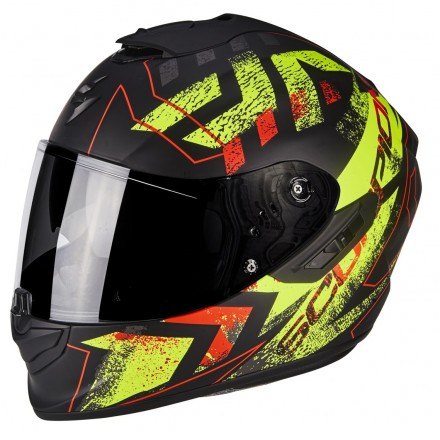 Casco integrale fibra moto Scorpion Exo 1400 Picta nero opaco giallo black mat yellow helmet casque