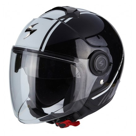 Casco jet con visierino parasole interno Scorpion Exo city Avenue nero bianco black white helmet casque