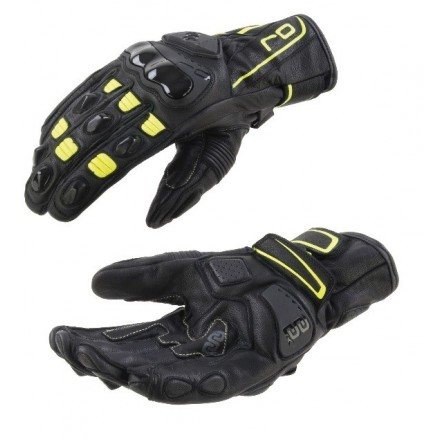 Guanti pelle moto racing sportivi Oj Shift nero giallo black yellow leather gloves