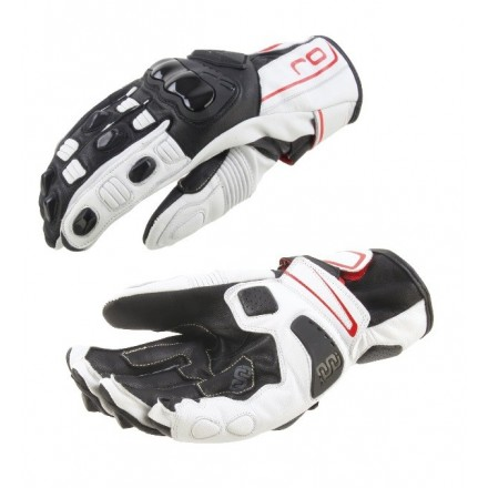 Guanti moto Pelle Oj Shift White Black Red leather gloves