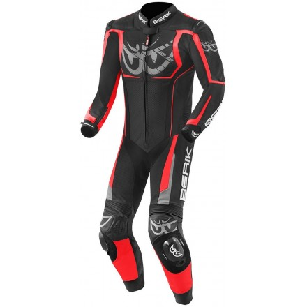 Tuta Intera pelle moto racing pista Berik NexG Black Red leather suit