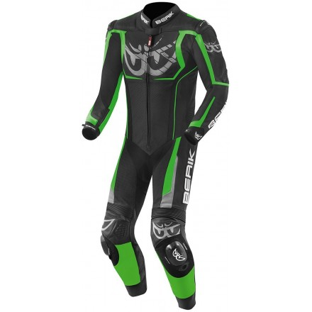 Tuta Intera pelle moto racing pista Berik NexG Black green leather suit