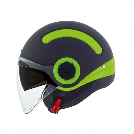 Casco jet Nexx Sx.10 nero opaco verde neon black matt green helmet casque