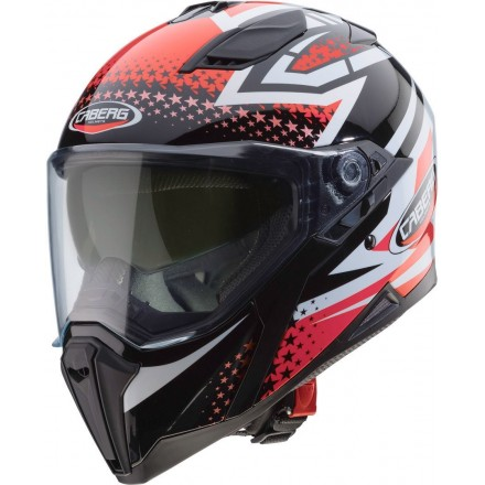 Casco integrale moto Caberg Jackal Sniper nero bianco rosso black white red helmet casque