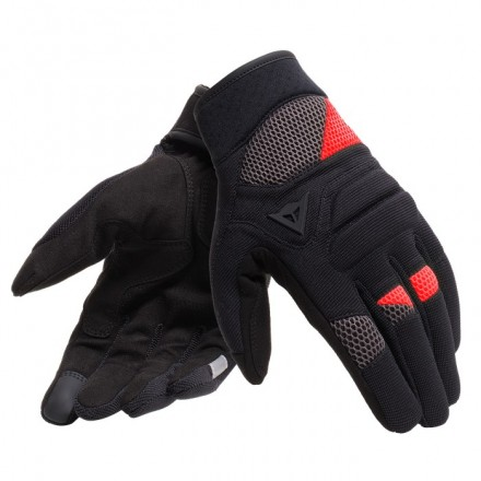 Guanti moto traforati estivi Dainese Fogal nero rosso black red perforated summer gloves