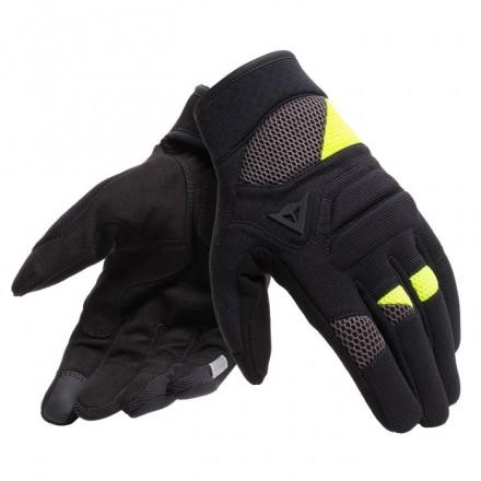 Guanti moto traforati estivi Dainese Fogal nero giallo fluo black yellow perforated summer gloves