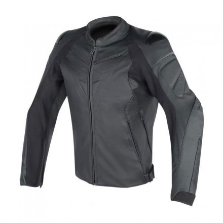Giacca pelle moto sportiva racing Dainese Fighter nero black leather jacket