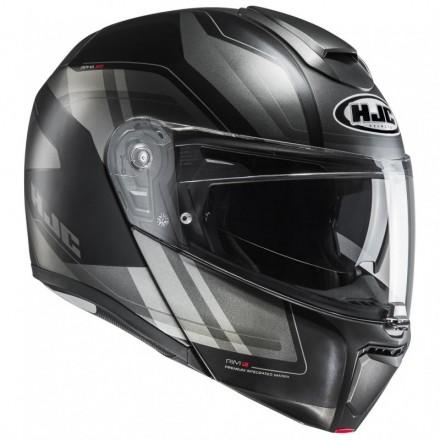 Casco modulare apribile fibra moto Hjc Rpha 90 Tasnik Mc5sf nero grigio black grey flip up Helmet
