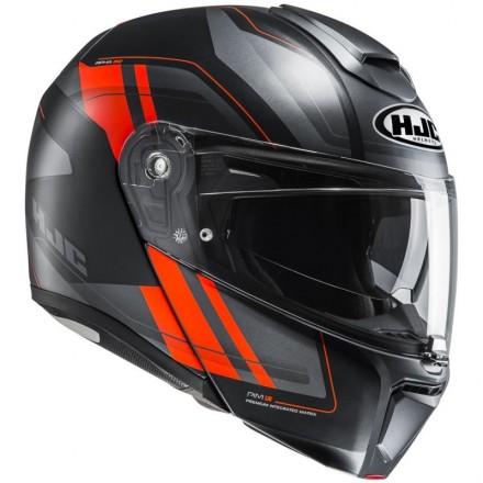 Casco modulare apribile fibra moto Hjc Rpha 90 Tasnik Mc5sf nero arancione black orange flip up Helmet