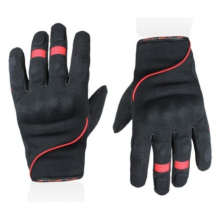 Guanti moto scooter primavera estate Chaft Splash nero rosso black red gloves