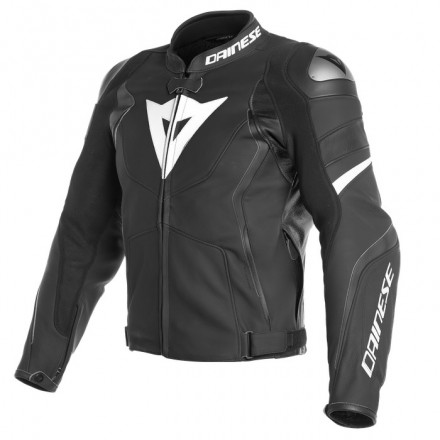 Giacca pelle sportiva moto Dainese Avro 4 Nero Bianco Black matt White leather jacket