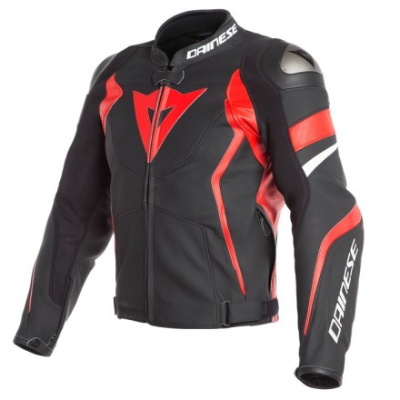 Giacca pelle sportiva moto Dainese Avro 4 Nero rosso Bianco Black matt lava red White leather jacket