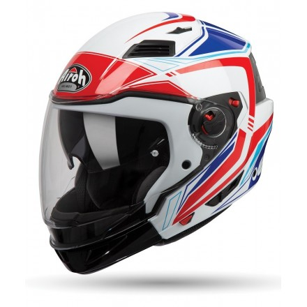 Casco jet integrale modulare crossover Airoh Executive Line white red Blue helmet casque