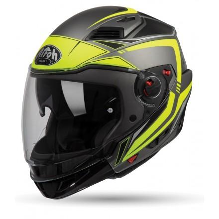 Casco jet integrale modulare crossover Airoh Executive Line titanio opaco nero giallo fluo matt black yellow helmet casque