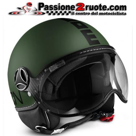 Casco jet Momo Design Fgtr Classic verde opaco nero matt green black helmet casque