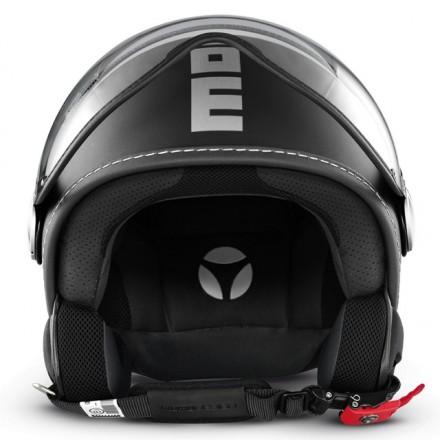 Casco jet Momo Design Fgtr Classic nero opaco argento matt black silver helmet casque