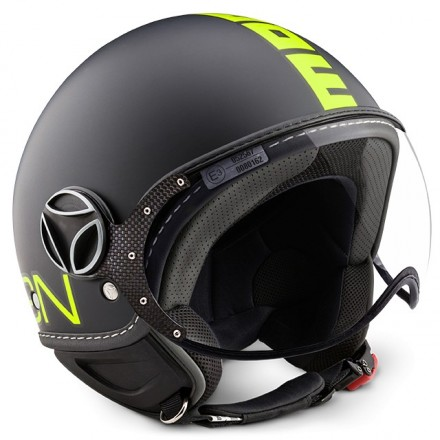 Casco jet Momo Design Fgtr Fluo nero opaco giallo black matt yellow helmet casque