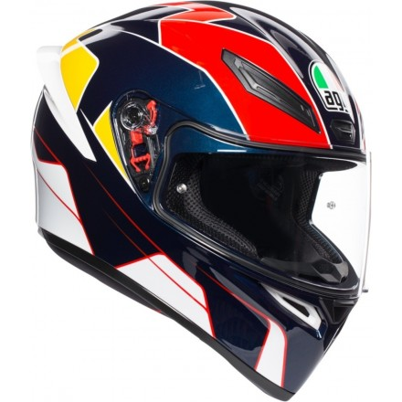 Casco integrale moto Agv K-1 Pitlane blu rosso giallo blue red yellow helmet