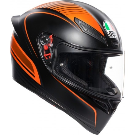 Casco integrale moto Agv K-1 Warmup nero opaco arancione matt black orange helmet casque