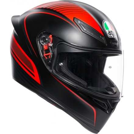 Casco integrale moto Agv K-1 Warmup nero opaco rosso matt black red helmet casque