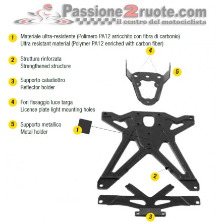 Porta Targa Ducati Streetfighter 848 - 1100 Lightech TARDU106