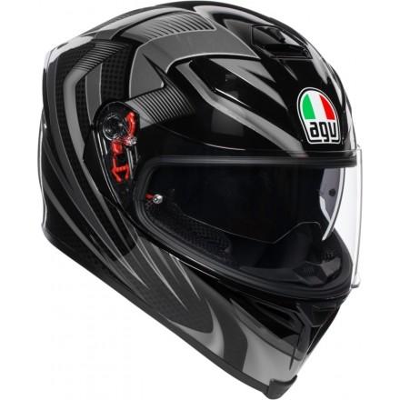 Casco integrale moto fibra Agv K-5 s Pinlock Hurricane 2.0 nero grigio black gunmetal helmet casque