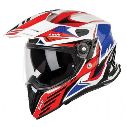 Casco integrale moto on off adventure Airoh Commander Carbon bianco rosso blu white red blue CMCA55 helmet casque