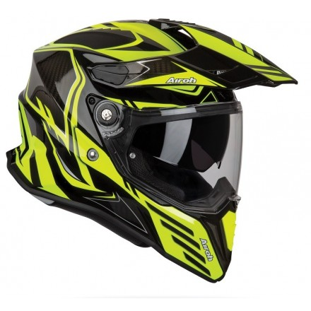 Casco integrale moto on off adventure Airoh Commander Carbon nero giallo fluo black yellow CMCA31 helmet casque