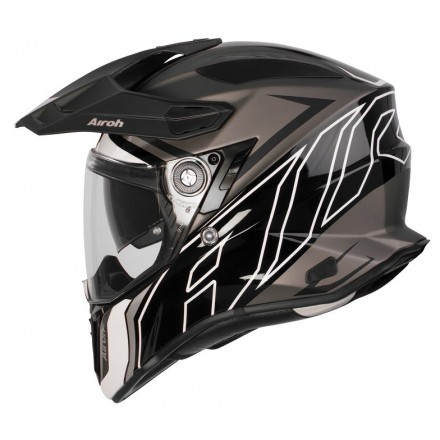 Casco integrale moto on off adventure Airoh Commander Duo nero opaco lucido black gloss matt CMD35 helmet casque