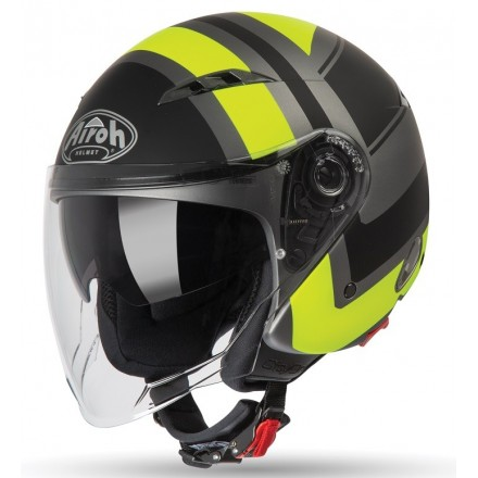 Casco jet moto scooter visiera lunga Airoh City One Wrap giallo yellow matt COWR31 helmet casque