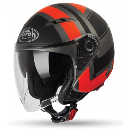 Casco jet moto scooter visiera lunga Airoh City One Wrap arancione orange matt COWR32 helmet casque