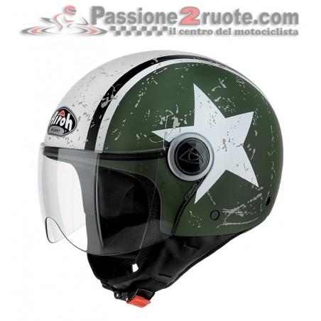 Casco jet Airoh Compact Pro Shield verde opaco green matt helmet casque