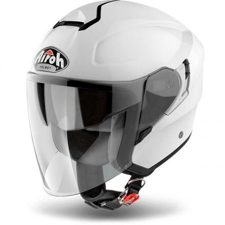 Casco jet moto visiera lunga Airoh Hunter bianco white helmet casque